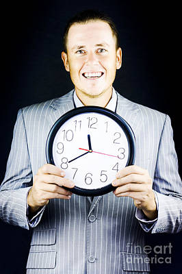 Smiling Man In Suit Holding A Clock Poster