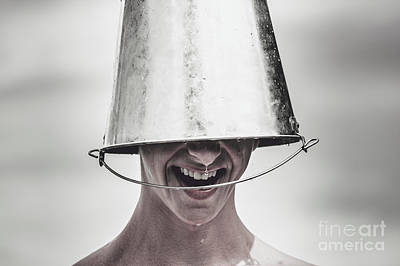 Smiling Man Laughing With Ice Bucket On Head Poster by Jorgo Photography - Wall Art Gallery
