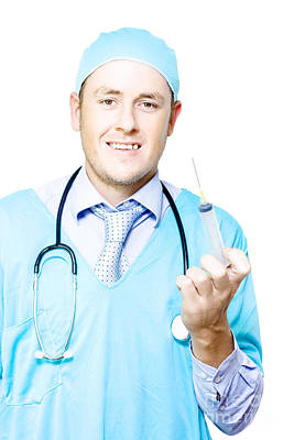 Smiling Medical Doctor With Needle And Syringe Poster
