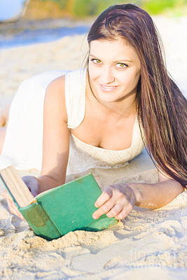 Smiling Person Relaxing With Book Poster