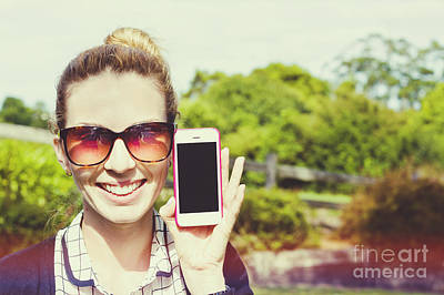 Smiling Person Showing Cell Phone Handset   Poster by Jorgo Photography - Wall Art Gallery