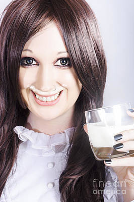 Smiling Woman Drinking Milk With A Milky Moustache Poster