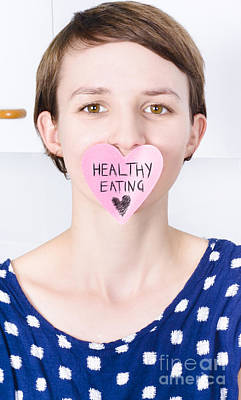 Smiling Woman With Healthy Eating Love Poster