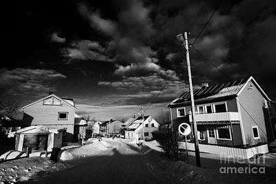 Snow Covered Street Of Traditional Wooden Houses In Kirkenes Finnmark Norway Europe Poster