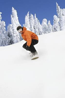 Snowboarder Going Down Snowy Hill Poster