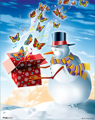 Snowman With A Gift Poster by Ned Levine