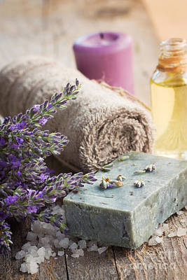 Spa With Lavender And Towel Poster by Mythja  Photography