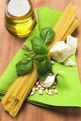 Spaghetti And Pesto Ingredients Poster