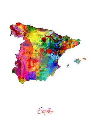 Spain Watercolor Map Poster by Michael Tompsett