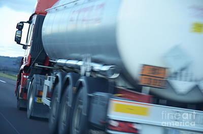 Speeding Truck On Highway Poster by Sami Sarkis
