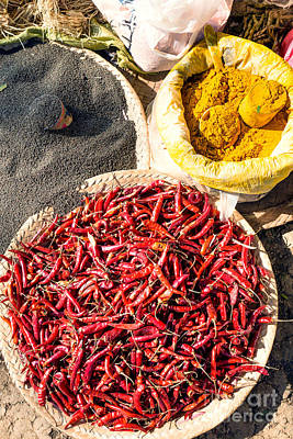 Spices At Local Market - Myanmar Poster by Matteo Colombo