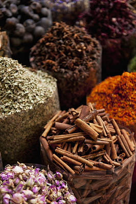 Spices For Sale In Spice Market Dubai Poster by Ian Cumming