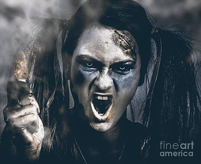 Spooky Portrait Of Dead School Girl Giving Finger Poster by Jorgo Photography - Wall Art Gallery