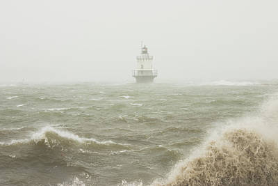 Spring Point Ledge Lighthouse In Storm In Portland Maine Poster by Keith Webber Jr
