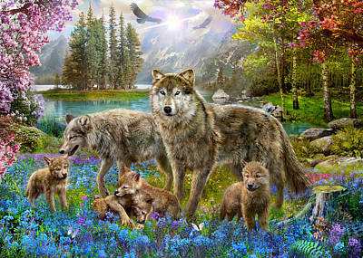 Spring Wolf Family Poster by Jan Patrik Krasny