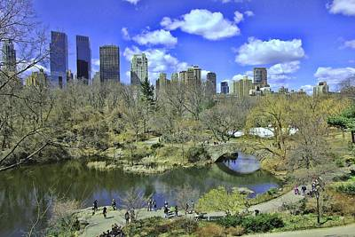 Springtime In Central Park Poster by Allen Beatty
