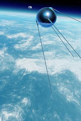 Sputnik 1 In Orbit Poster by Detlev Van Ravenswaay