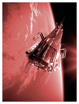Sputnik 3 In Orbit Poster by Detlev Van Ravenswaay