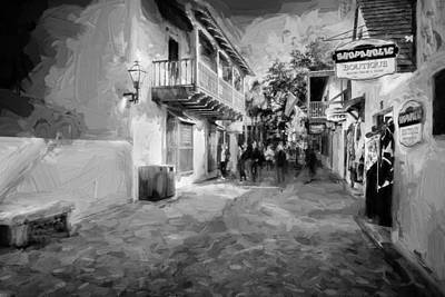 St George Street St Augustine Florida Painted Bw Poster by Rich Franco