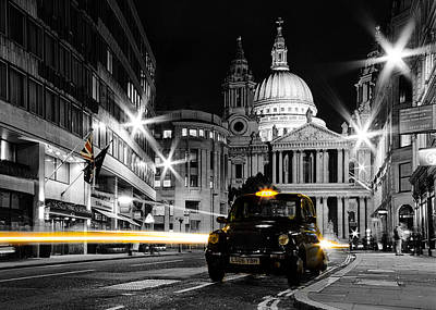 St Pauls With Black Cab Poster by Ian Hufton