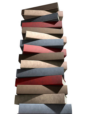 Stack Of Generic Leather Books Poster