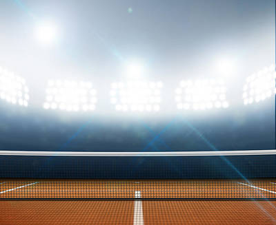 Stadium And Tennis Court Poster