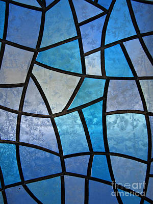 Stained Glass Background With Ice Flowers Poster