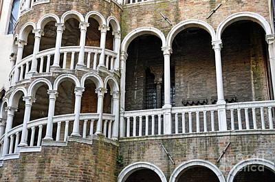 Staircase At Palazzo Contarini Del Bovolo Poster by Sami Sarkis