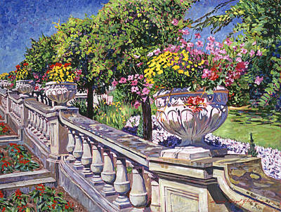 Stairway Of Urns Poster by David Lloyd Glover