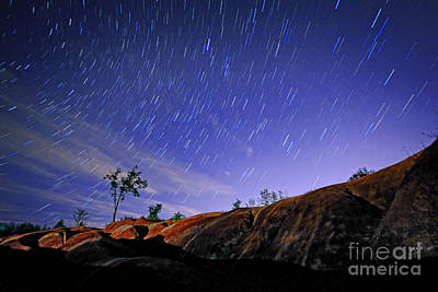 Star Trails Over Badlands Poster