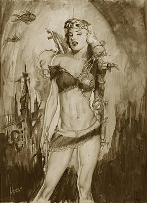 Steampunk Monroe Poster by Luis  Navarro