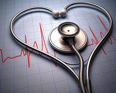 Stethoscope In Heart Shape Poster