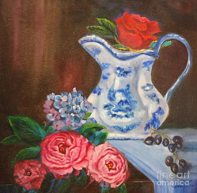 Still Life With Blue And White Pitcher Poster