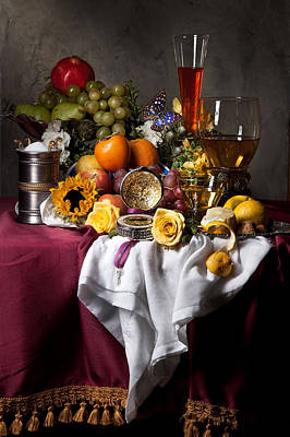 Still Life With Fruits And Drinking Vessels Poster by Levin Rodriguez