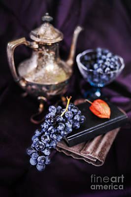 Still Life With Grapes And Silver Teapot Poster by HD Connelly
