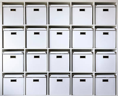 Storage Boxes On Shelves Poster