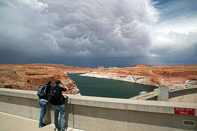 Storm Clouds Over Glen Canyon Dam Poster by Jim West