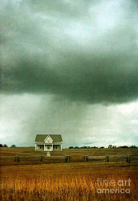 Storm Over Farmhouse Poster by Jill Battaglia
