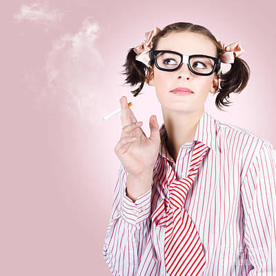 Stressed Geeky Office Worker On Smoke Break Poster by Jorgo Photography - Wall Art Gallery