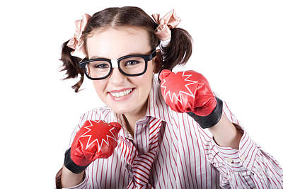 Strong Driven Business Woman Wearing Boxing Gloves Poster