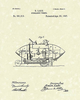 Submarine 1897 Patent Art Poster by Prior Art Design