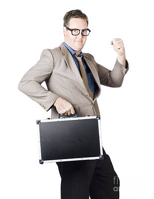 Successful Businessman With Briefcase Poster by Jorgo Photography - Wall Art Gallery