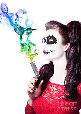 Sugar Skull Girl Blowing On Smoking Gun Poster by Jorgo Photography - Wall Art Gallery