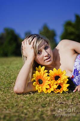 Summer Sun Flowers Woman Poster by Jorgo Photography - Wall Art Gallery