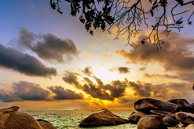Sun Sand Sea And Rocks Poster