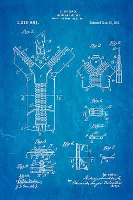 Sundback Zipper Patent Art 1917 Poster by Ian Monk