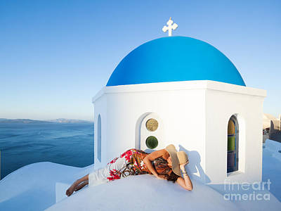 Sunrise On Blue Domed Church Oia Santorini Greece Poster