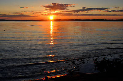 Sunrise On Grand Traverse Bay Poster by Diane Lent