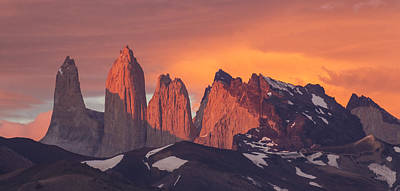 Sunrise Torres Del Paine Np Chile Poster by Matthias  Breiter