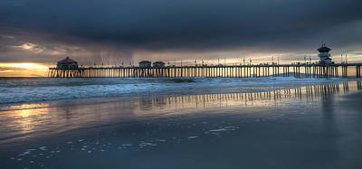 Approaching Storm Huntington Beach Pier Poster